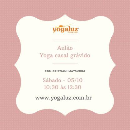 YOGA CASAL GRÁVIDO.  Sábado - 05/10/19.